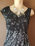 Alice + Olivia black sequin silk dress, small petite