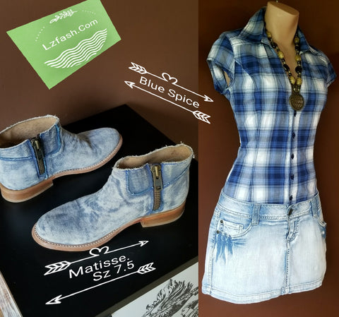 Blue Spice plaid denim trendy dress, Sz 3