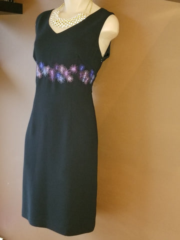 Ann Taylor Loft black sleeveless dress with burst of stars accent, size 4