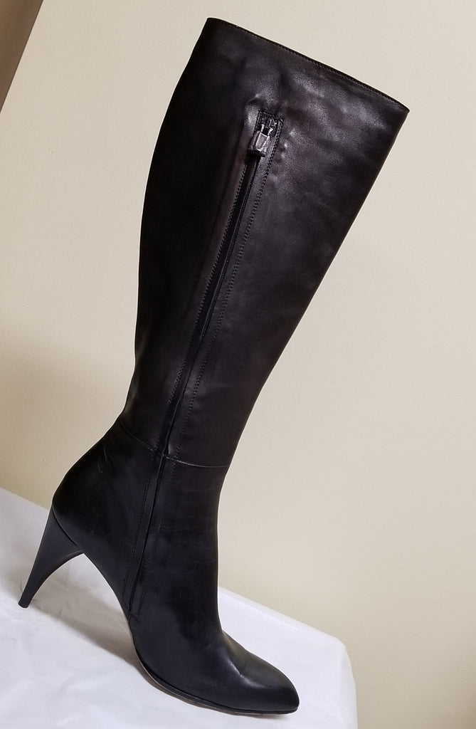 Custome National knee high designer black leather boots ,size  Euro 38 (US 7.5)