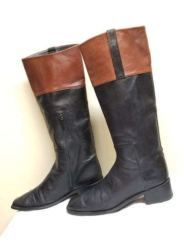Stuart Weitzman knee high black and brown boots, size 7.5 B