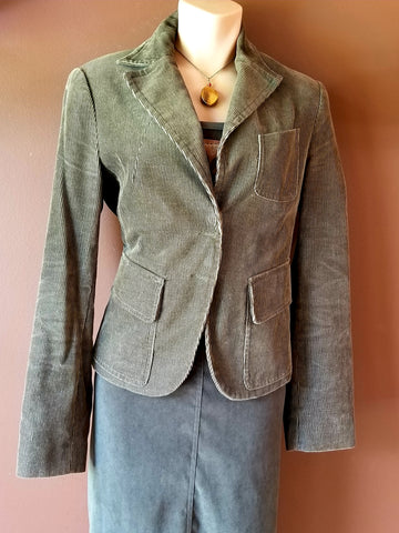 MNG corduroy brown jacket with olive tone, size 8