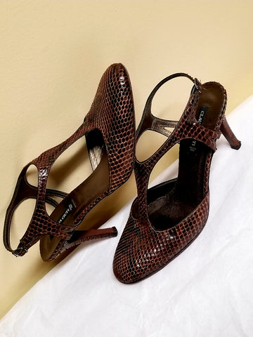 Claudia Ciuti brown snake pattern leather pumps, size 8 M