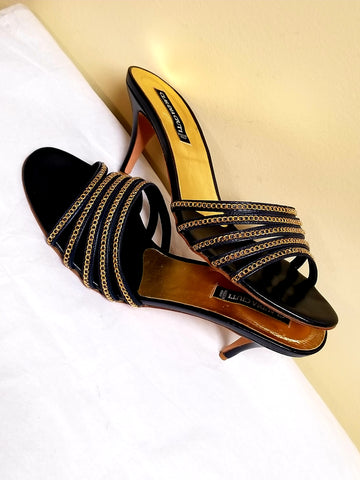 Claudia Ciuti black and lite gold high heel sandals, size 8 M