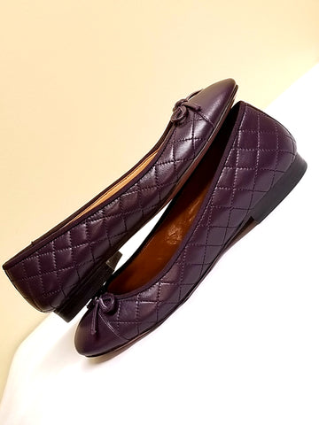 Talbots purple quilted flats with bows, size 7 M