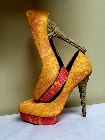 Rachel Roy yellow background/ orange tone and pink accent high heels, size 7.5 M