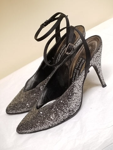 Stuart Weitzman for Smyth Brothers silver/black sparkled heels, 8.5 B