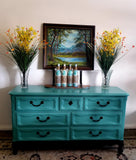 Drexel French Country Manner 7 drawer Oak teal dresser