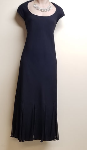 Jones New York long formal black dress with silk trim, size 8