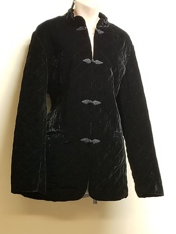 Coldwater Creek quilted black velvet jacket, size XL