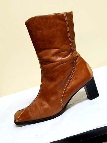 Paul Green handmade brown  leather boots, size AT 4.5 (US size 7)
