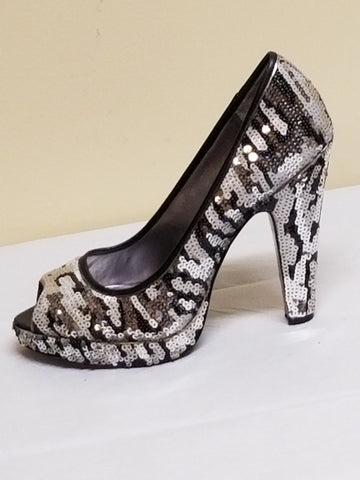 Coach gray, silver & black sequin peeped toe high heel shoes, size 8 B
