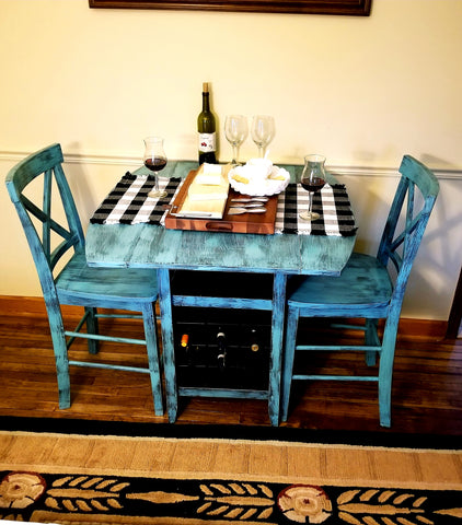 Counter Top Bistro Table 3 Piece Set W/Drop Leaves & Wine Rack Under The Table