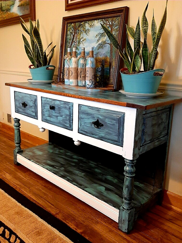 Vintage buffet/entryway table refinisned in fab modern colors