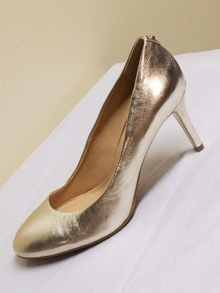 Michael Kors silver high heel pumps, size 8 M
