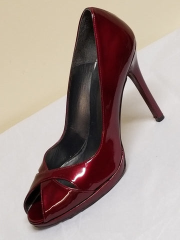 Stuart Weitzman burgundy red peeped toe high heels, size 9 M