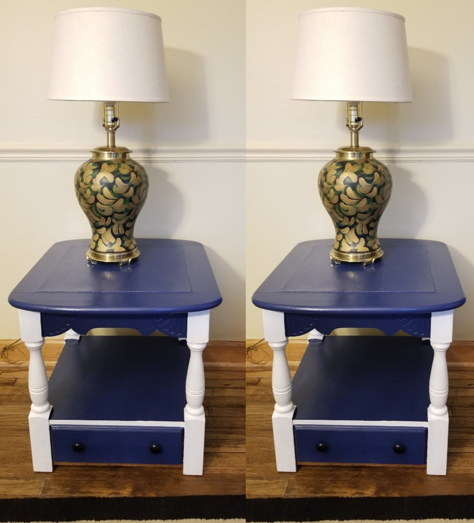 Two refinished hand painted navy blue/white trimmings antique Oak side tables