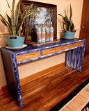 Thomasville solid Oak modern refinished sofa table/entryway table, size medium