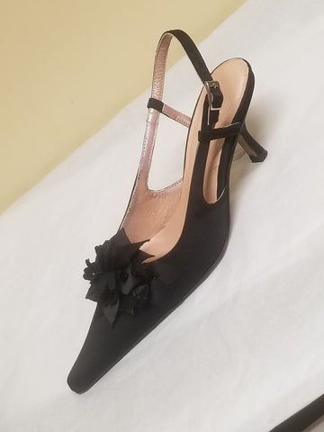 Albert Nipon black satin slingbacks with black roses, size 6 M