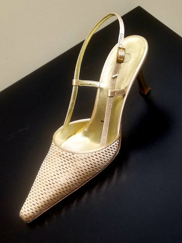St John gold slingbacks made in Italy, size 7.5 B