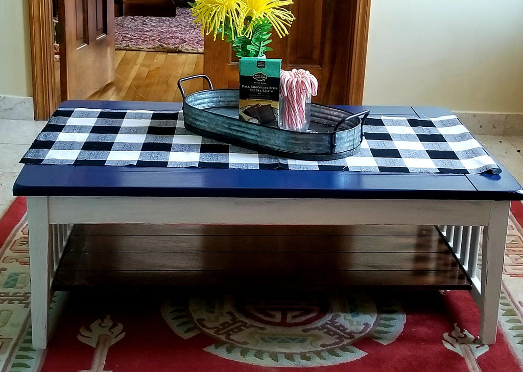 Coffee table with one shelf, navy blue & white oak wood, size medium