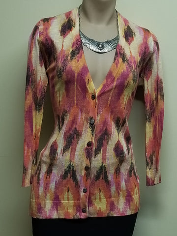 Ann Taylor multi-color button down sweater, size medium