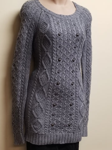 American Eagle Outfitters long sleeve gray sweater w/studs, size small petite