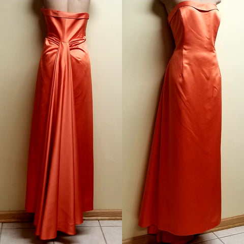 David Bridal orange red strapless formal dress, size 16