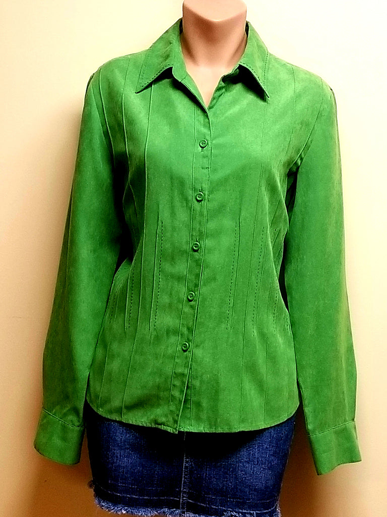 Talbots bright green long sleeve button down shirt, size medium petite