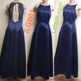 ILGWU formal navy blue dress, size 15-16