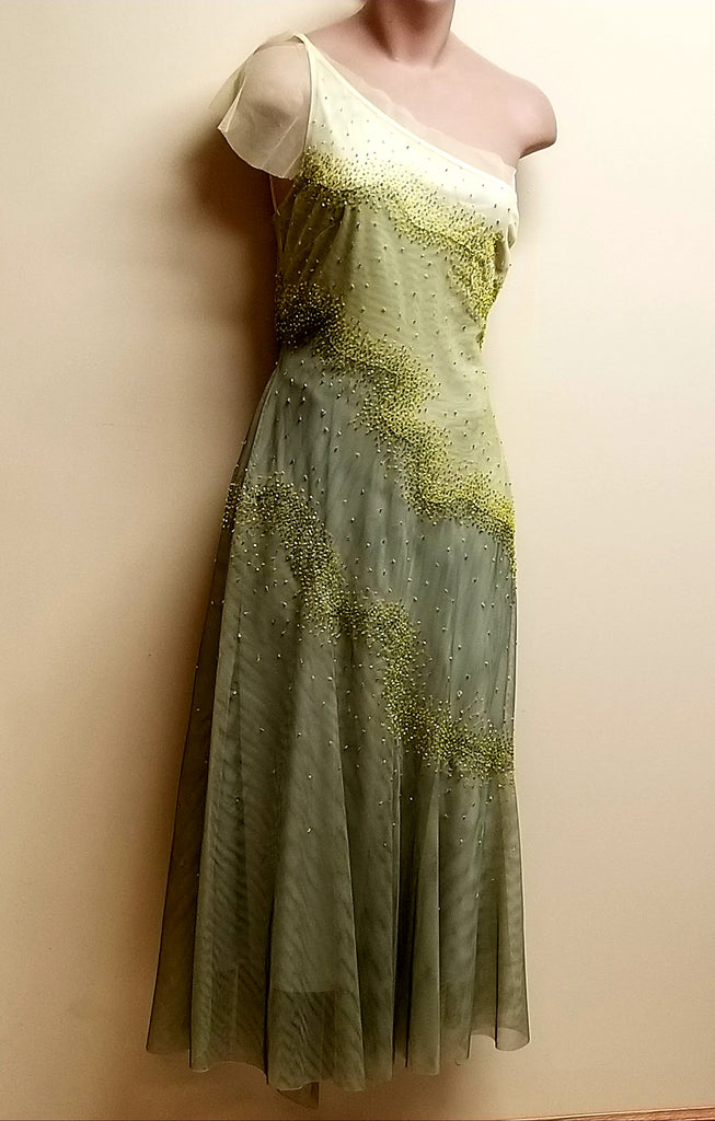 BCBGMaxazria different shades of  green/yellow designer dress, size 8