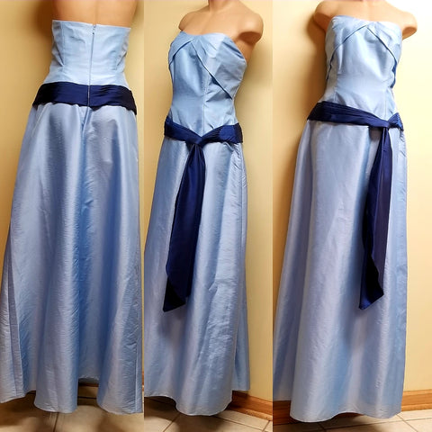 Alyce Designs strapless sky blue w/navy sashay formal dress, size 14
