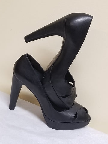 Stuart Weitzman black peeped toe high heels, size 9.5M