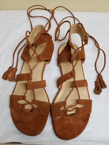 Stuart Weitzman brown suede gladiator strappy sandals, size 10 M