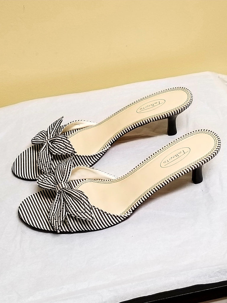Talbots gray strips sandals with bows, size 9.5 B