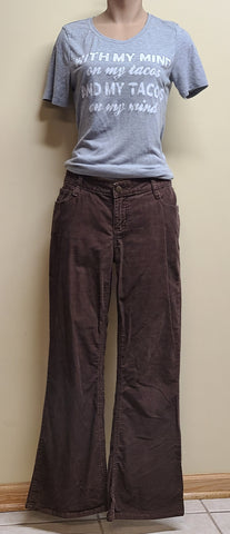 SO flared leg brown corduroy long pants, size 9