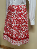 Saks Fifth Avenue red & white cotton summer skirt, size 10