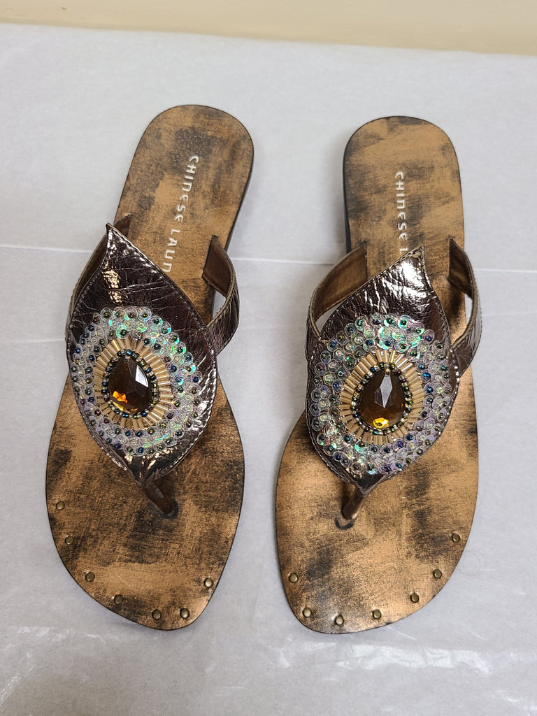 Chinese Laundry copper gems encrusted sandals, size 8