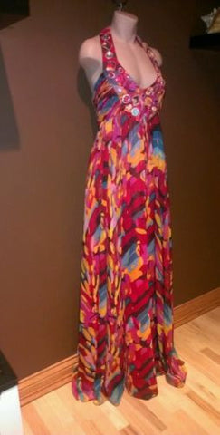 Adrianna Papell multicolor  evening maxi dress Sz 10 excellent condition