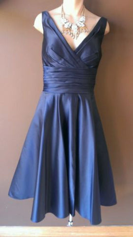 Bill Levkoff navy blue dress Sz 12, great for wedding!