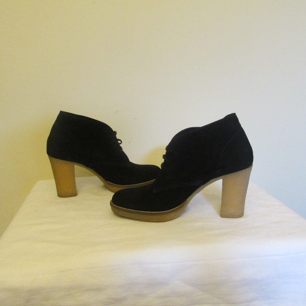 J. Crew black laced up suede ankle boots Sz 9M, excellent condition