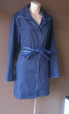 Dennis Basso blue button down jacket, size large. Water resistant!
