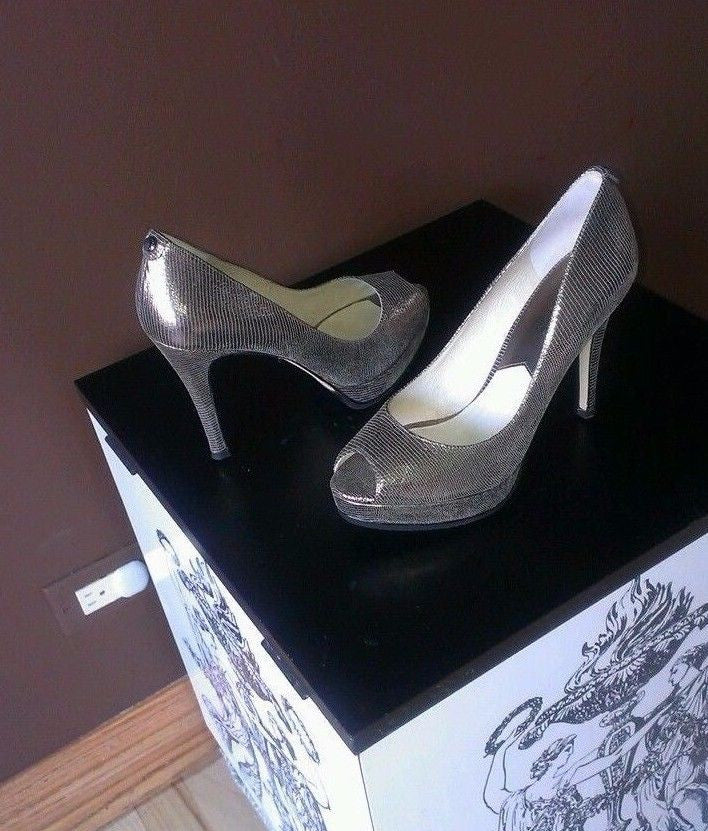 Michael kors silver peeped toe pumps, size 8.5 M