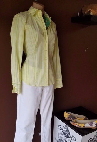 Ann Taylor yellow striped shirt, Sz small