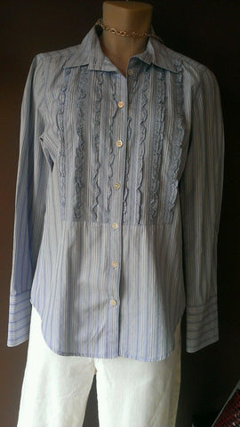 J Crew blue striped button shirt Sz 4