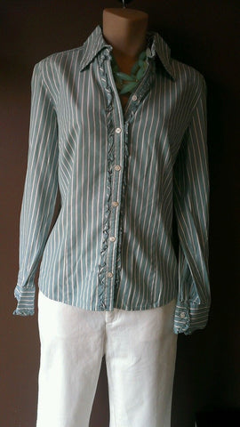 Ann Taylor Loft blue striped button down shirt, Sz 8