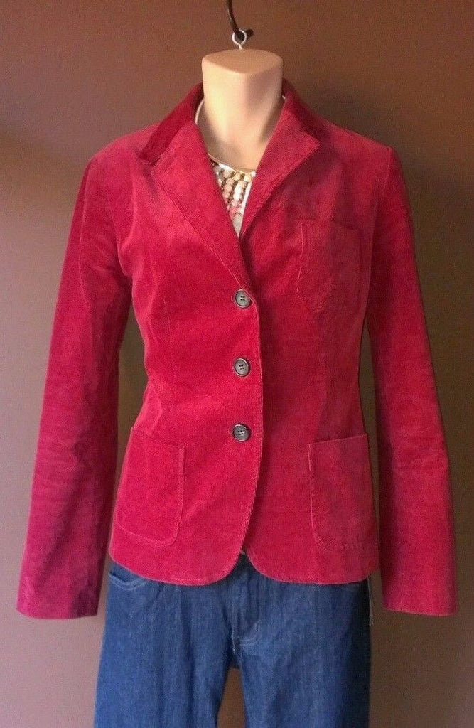 Talbots burgundy red button down jacket Sz 4