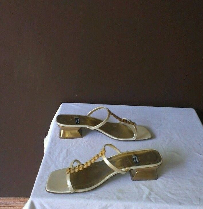 Stuart Weitzman gold/ivory sandals 8B, excellent condition