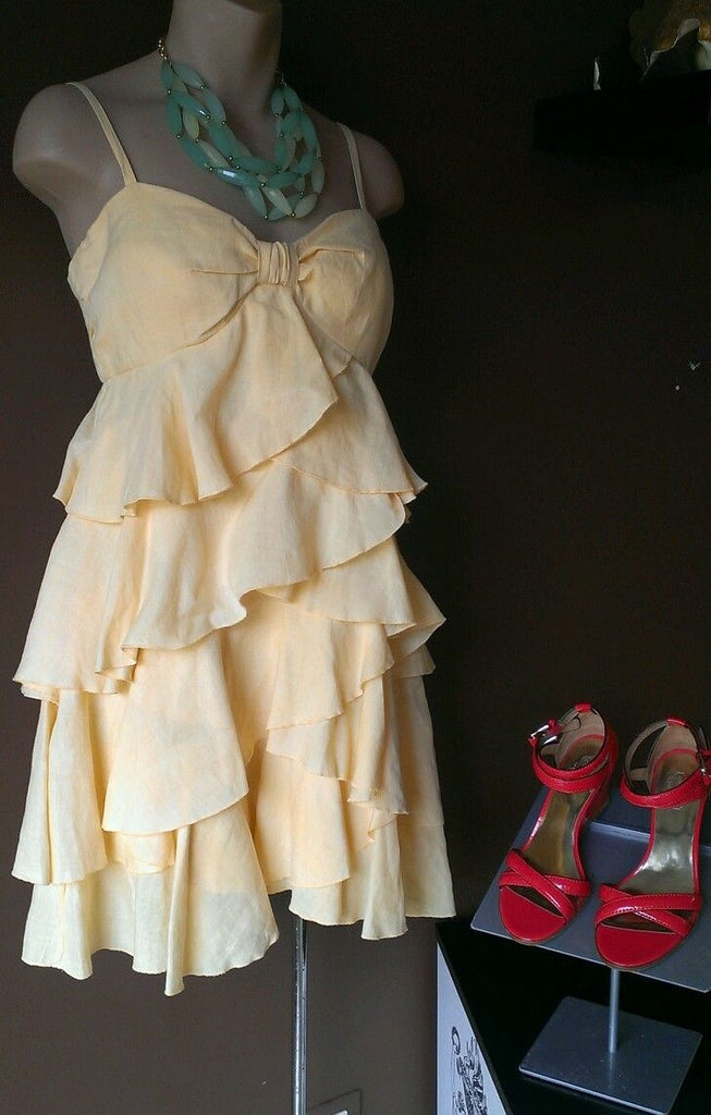 Esther's Archive yellow teired ruffled dress, Sz small