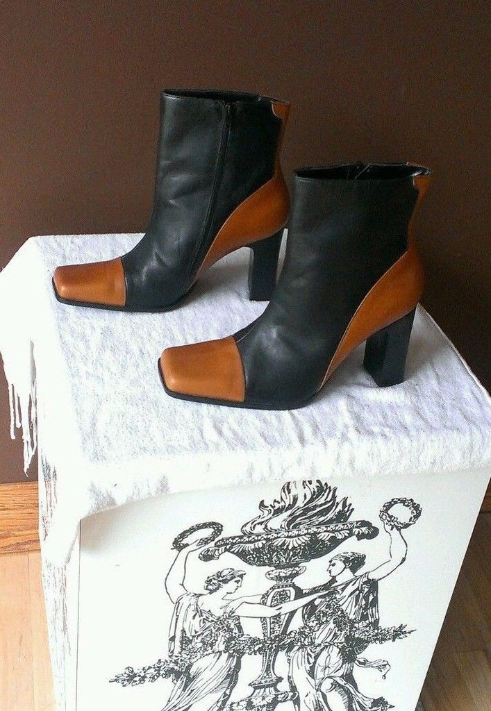 AnnaBasso Officina Di Scarpi brown and black quarter boots Sz 8M
